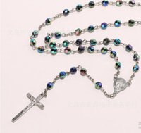 Wholesale Wholesale 6mm Pearl Beads - DHL free wholesale Fashion Jewelry rosin 6mm ABS Fashion Religious Necklace Simulated Pearl Beads Rosary Necklace Cross