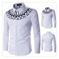Wholesale Slim Fit Designer Shirts Men - Designer Shirts Men Hight Quality 2017 Fashion Printing Shirt Long Sleeves Slim Fit Men Shirt US SIZE:XS-XXXL