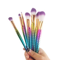 Wholesale Metal Bag Wholesale - 7pcs set Mermaid Brush Spiral Makeup Brush Set Cream Face Power Brushes Multipurpose Beauty Cosmetic Rainbow Brush OPP Bag 2805102