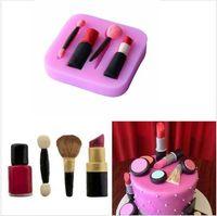 Wholesale 3d Cake Molds - 3D Makeup Tools Design Lipstick Fondant Cake Molds Silicone Candy Decorative baking Bakeware Fondant Molds Cake Decor KKA2252