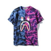 Wholesale Blue Shark Size - 2018 Hot Blue Purple Shark Camo Stitching T-shirt Men Women Crew Neck Cotton Cotton Printed Short Sleeved T-shirts Sizes M-2XL