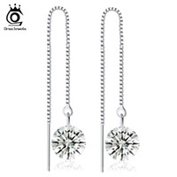 Wholesale White Cz Earrings Dangle - ORSA JEWELS Women Drop Earring with AAA Grade CZ Perfect Polished Quality Dangling Earring Jewelry OE04