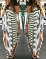 Wholesale Peplum Maxi - Women maxi dress Clothing Summer Dress Long Maxi Loose Dress Striped Batwing Sleeve Off-shoulder Split Casual Beach Wear Plus Size Vestidos