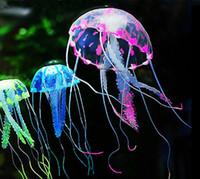 tanque de medusas artificial al por mayor-Efecto que brilla intensamente Fish Tank Decor Acuario Artificial Silicona Vivid Jellyfish