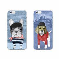 Wholesale Cute Korean Iphone Cases - Fashion Design Cute Korean Design Glasses Silicone Dog Case Cover for iPhone 7 7Plus 6 6S 5 5S SE 8 8Plus X SAMSUNG