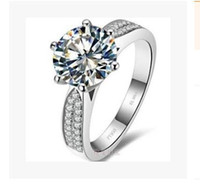 Wholesale brilliant diamond rings - High Quality Brilliant New Round Multi Zircon Diamond 3CT Six Claw Ring Fashion Wedding Or Engagement Ring Royal Court Style