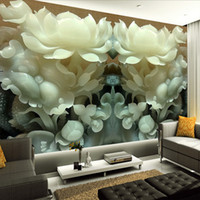 Wholesale Wall Paints For Sitting Room - photo wallpaper wall painting modern art non-woven paper 3d TV contracted sitting white lotus flowers large mural wall paper