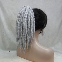 kinky lockige weave frisuren großhandel-2017 neue Mode Afro verworrene Curly Weave Pferdeschwanz Frisuren grau Clip auf Erweiterungen in Pferdeschwanz