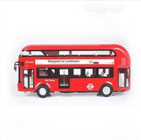 Wholesale London Bus Model - London Double Deck Bus City Sightseeing Sound Light Model Toys Gift For Kids Children free shipping