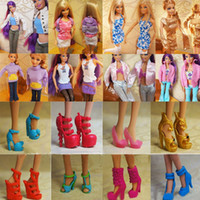 Wholesale Dress Pairs Doll Shoes - Randomly Picked 10 Pairs Fashion Princess Barbie Colorful Doll Shoes Heels Sandals For Barbie Dolls Accessories Outfit Dress