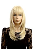 Wholesale Blonde Straight Bangs Wig - long blonde wig with bangs synthetic wigs women heat resistant fiber cosplay hair
