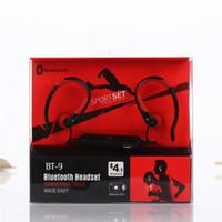 Wholesale Hook Over Ear Headphones - BT-9 BT9 Earphone Bluetooth Stereo Sport Earhook Earbuds Over-Ear Wireless Neckband Bluetooth Headset Headphone with Mic for Cellphones