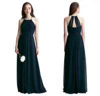 Wholesale Bill Levkoff Bridesmaid - Bill Levkoff 2017 Navy Blue Chiffon Long Bridesmaid Dresses 2017 Custom Made Pleats Floor Length Wedding Guest Dress