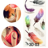 Wholesale Sticker Sheets Girls - Wholesale-10 Sheets Waterproof Temporary Tattoo Sticker Body Art 3D Color Feather Tattoo Transfer Fake tattoo Flash Tattoo For Girl Women