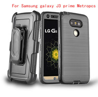 Wholesale Belt For Brushes - For Samsung galaxy J3 prime Metropcs lg K20 PLUS LV5 V5 J3 Emerge J327P J3 2017 Hybrid Armor brushed Case Belt Clip Holster