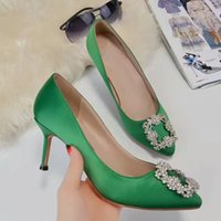 Yuf32H Green Sparkling Wedding Party strass in raso di seta genuino in pelle 7.5 cm tacchi alti pompe ufficio lady dress scarpe Sz 35-40