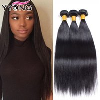 Wholesale Indian Weaving Natural Hair Colour - YYONG Unprocessed Cheap 8A Brazilian Virgin Hair 3Bundles Straight Human Hair Top Selling Human Remy Hair Weave Natural Colour Free Shipping