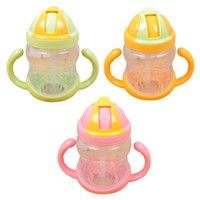 Wholesale Thermals For Baby Girls - Drinker Girl Boy Mini Cup With Handles Baby Straw Learn Feeding Drinking Water Cup Children Drinker bottle for water LZ0170