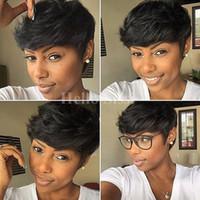 perruques de cheveux humains afro-américaine achat en gros de-Celebrity courtes perruques de cheveux humains pixie Rihanna courtes perruques de cheveux afro-américaines pour les femmes noires chceap perruques de cheveux vente chaude