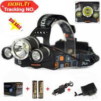 phares cree haute puissance achat en gros de-Boruit 6000 Lumens Phare 3 LED Cree XM-L T6 + 2R5 Lampe frontale LED haute puissance Lampe frontale + 2 * 18650 batterie + chargeur + chargeur de voiture