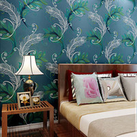 Wholesale Luxury Wall Decals - Wholesale-Luxury Peacock Feathers Silver Wall Paper Non-woven Wallpaper Roll Decor Mural Creative Papier Peint Abstract Wall Decals QZ0022
