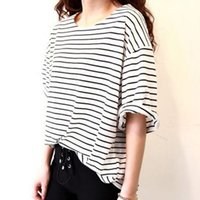 Wholesale vintage t shirts wholesale - Wholesale-2016 tshirts cotton women Batwing Short Sleeved Striped Print Leisure Vintage T-shirt Best Friend Clothing Top Tee Free Shipping