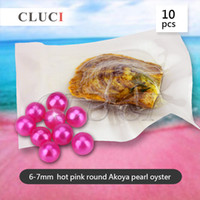 Wholesale Cultured Pearls Sales - 10pcs Hot Pink 6-7mm Akoya Round Cultured Pearl in Oyster Hot Sale