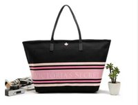 Wholesale Girls Large Shopping Bags - Girl Casual Summer Canvas Shopper Shoulder Bag Striped Beach Bags Large Capacity Tote Women Ladies Casual Shopping HandbagThe secret of 2017