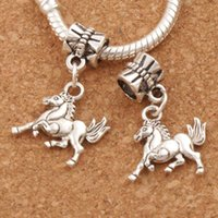 Wholesale Wholesale Horse Beads Jewelry - My Little Horse Charm Beads 100pcs lot 16x26mm Antique Silver Dangle Fit European Bracelets Jewelry DIY B181