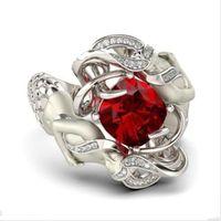 Wholesale Ruby White Diamond Ring - Fashion cute Mermaid Gemstone ring Jewelry cushion cut 8mm Ruby Simulated Diamond 925 Sterling Silver Wedding Band Rings for Women Size 5-11