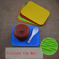 Silicone Dish Drying Mat Rectângulo Durável Resistente ao Calor Square Cup Pot Bowl Placa Mesa Mats OOA2622