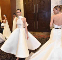 Wholesale Short Cheap Stylish Dresses - 2017 Stylish Backless Short Wedding Dresses A-Line Halter Neck Ankle Length Taffeta Cheap Plus Size Bridal Gowns With A Bow