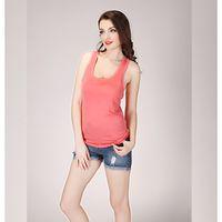 Wholesale Ladies Round Neck Vest - 2017 Summer Fitness Tank Tops Sexy T Shirt Women Shirts Vest Cotton Cropped Sleeveless Round Neck Ladies Slim Clothes Femme