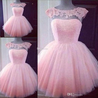 Wholesale Girls Pink Puffy Dresses - Cute Short Pink Homecoming Prom Dresses Puffy Tulle Party Dresses Cheap Appliques Cap Sleeves Girl Formal Prom Gowns On Sale
