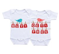 Wholesale Buy Matches - Baby Buy One Get One Free Funny twins baby white clothes Twin Matching Outfits Boy Girl Twin Onesies Baby shower gifts Twin Bodysuits