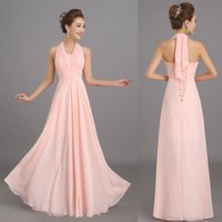 Wholesale Large Photo Images - New Halter Peach Pink Long Chiffon Bridesmaid Dresses Cheap Wedding Party Prom Dress Plus size Customize Large Lace Up De Honra