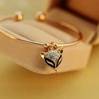 Wholesale Open Top Charms - Top Quality Retro Diamond Fox Charm Bracelets Lovely Crystal Rose Gold Open Bangle Bracelet For Women Lady Girl Diameter 62mm