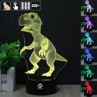 Vente en gros - 3D Illusion Animal Dinosaur à distance Télécommande LED Table de bureau Lampe de nuit Lampe à 7 couleurs Touch Kids Kids Family Family Gift