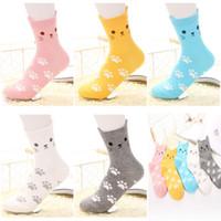 calcetines altos de gato al por mayor-Calcetines de gato de oreja pequeña de alta calidad 3D Hosiery Corea Calcetines de Panda de dibujos animados de 3d Señoras de algodón calcetines de tobillo de algodón animal linda sin LOGO