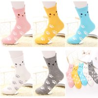 Wholesale Ankle High Hosiery - High Quality 3D Little Ear Cat Socks Hosiery Korea 3d Cartoon Panda Socks Ladies Winter Cute Animal Cotton Ankle Socks without LOGO