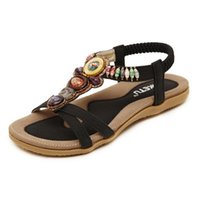 Wholesale Style Roots - 2017 Bohemian Shoes Woman Diamond Comfortable Flat Women Sandals Rubber Hand-Beaded Grass-Roots Style Sandals Size 35-42