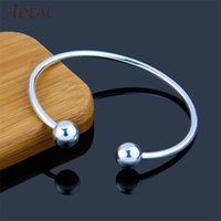 Wholesale European Bangles - Hot Sale Silver Plated Bracelet Opening Bangle with Double Round Clasp Fit for European DIY Beads Famous Brand Basic Cuff Bangle