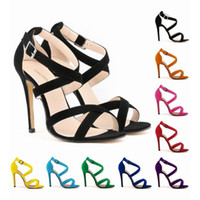 ingrosso tacchi strappy sexy rosso-2017 New Red Strappy Heels Décolleté Sexy Wedding Club Party Platform Tacchi a spillo alti Misura 36 37 38 39 40 41 42
