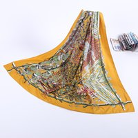 Wholesale Matt Blue Wrap - Women Matt Satin Scarf Square Plus Size 140*140cm Silk Flowers Scarves Floral Print Imitated Silk Scarves Female Shawl PF-004