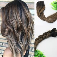 Wholesale Human Hair Clip Highlight - 8A 7pieces 120gram Clip In Human Hair Extensions Balayage Ombre Dark Brown Highlights Brazilian Human Remy Hair Thick End