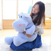 Wholesale Giant Stuffed Plush Hippo - New Pop 80cm Giant Soft Cartoon Hippo Plush Toy Pillow Stuffed Animal Hippos Doll Baby Present