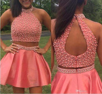 Wholesale cocktail covers for sale - Group buy 2017 New Arrival High Neck Two Pieces Homecoming Dresses Custom Made A Line Summer Open Back Short Cocktail Party Gowns BA4667
