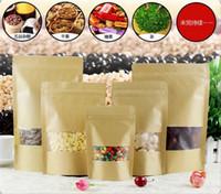 bolsas de papel para comida al por mayor-Bolsas a prueba de humedad de los alimentos Papel de Kraft con revestimiento de papel de aluminio Soporte Bolsa Ziplock Bolsa de embalaje para hornear galletas de dulces Snack