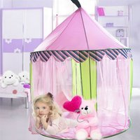 Wholesale Games Princess For Girls - Wholesale- Pink Princess Girls Tent Outdoor Indoor Games Play Tents For Kids Castle Mosquito-Net Christmas Gift Teepee Barraca Infantil