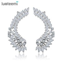 Wholesale Copper Shine - Silver Tone Korea Style Shining CZ Crystal Paved Big Angel Wings Stud Earrings for Women Wedding Brincos Jewelry LUOTEEMI